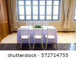 chairs and tables in white for... | Shutterstock . vector #572714755