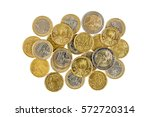 Pile Of Euro Coins Isolated On...