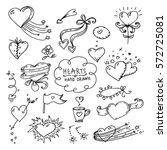 hearts set doodle vector black | Shutterstock .eps vector #572725081