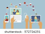 people communicate online in... | Shutterstock .eps vector #572726251