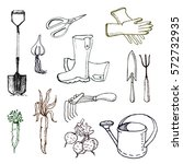 set of various gardening items. ... | Shutterstock .eps vector #572732935