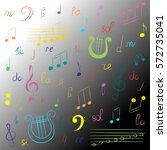 hand drawn set of  music... | Shutterstock .eps vector #572735041