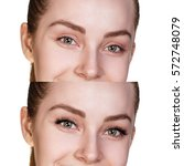 female eyes before and after... | Shutterstock . vector #572748079