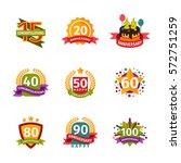 happy birthday badges vector... | Shutterstock .eps vector #572751259