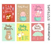 baby shower invitation vector... | Shutterstock .eps vector #572751691
