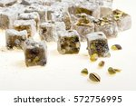 pistachio of turkish delight | Shutterstock . vector #572756995