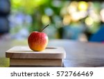 apple on wood tray. | Shutterstock . vector #572766469