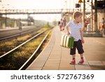 adorable little kid boy dressed ... | Shutterstock . vector #572767369