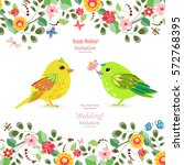 invitation card with colorful... | Shutterstock .eps vector #572768395