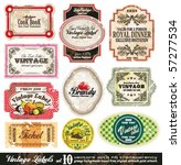 Stock vector vintage labels collection design elements with original antique style set 57277534