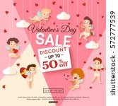 valentines day sale banner with ... | Shutterstock .eps vector #572777539