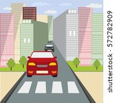 the car stopped at a crosswalk. ...   Shutterstock .eps vector #572782909