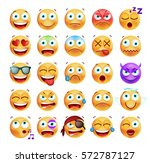 set of cute emoticons on white... | Shutterstock .eps vector #572787127