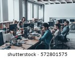 busy working day. group of... | Shutterstock . vector #572801575