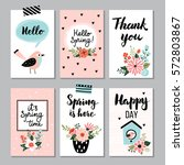 spring card collection   hand... | Shutterstock .eps vector #572803867