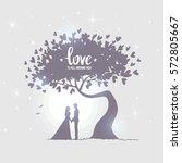 romantic silhouette of loving... | Shutterstock .eps vector #572805667