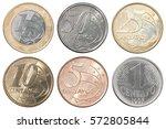 brazilian full set of coins...   Shutterstock . vector #572805844