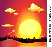 red city sunset   vector... | Shutterstock .eps vector #572813209