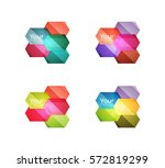 set of vector shiny blank boxes ... | Shutterstock .eps vector #572819299