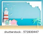 lighthouse with ocean... | Shutterstock .eps vector #572830447