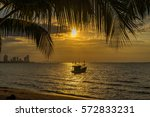 dreamy ocean sunset and fishing ... | Shutterstock . vector #572833231