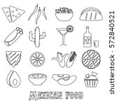 mexican food theme set of... | Shutterstock .eps vector #572840521