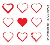 vector hearts set. hand drawn. | Shutterstock .eps vector #572840935