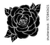 flower rose  black and white.... | Shutterstock .eps vector #572842621