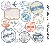 travel stamps or adventure... | Shutterstock .eps vector #572853655
