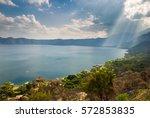 lake coatepeque in el salvador  ... | Shutterstock . vector #572853835