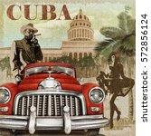 cuba retro poster. | Shutterstock . vector #572856124