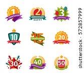 happy birthday badges vector... | Shutterstock .eps vector #572857999
