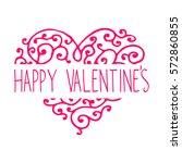 floral curly vintage valentine... | Shutterstock . vector #572860855