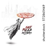super fast pizza delivery guy... | Shutterstock .eps vector #572865469