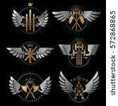 vintage weapon emblems set.... | Shutterstock .eps vector #572868865