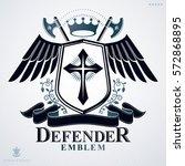 heraldic design  vector vintage ... | Shutterstock .eps vector #572868895