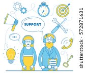 technical support team. man and ... | Shutterstock .eps vector #572871631