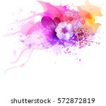 Stock vector watercolor vector background with colorful flowers abstract floral elements 572872819