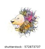 cute hand drawn portrait of... | Shutterstock .eps vector #572873737