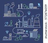 smart city illustration in... | Shutterstock .eps vector #572876059