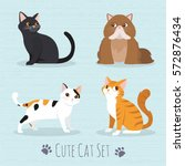 Stock vector cat set flat icons vector illustration cartoon 572876434