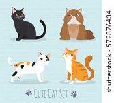 Stock vector cat set flat icons vector illustration cartoon 572876434