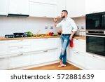 professional chef tasting wine... | Shutterstock . vector #572881639