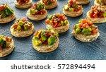 salsa canape cracker appetizers ... | Shutterstock . vector #572894494