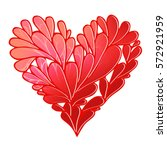 stylized floral red heart icon. ... | Shutterstock . vector #572921959