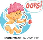 vector cupid making a mistake... | Shutterstock .eps vector #572924449