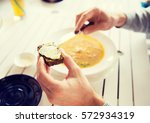 restaurant  couple and holiday... | Shutterstock . vector #572934319