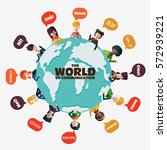 set of social people on world... | Shutterstock .eps vector #572939221
