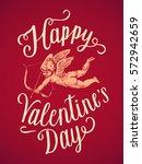happy valentines day cupid... | Shutterstock .eps vector #572942659