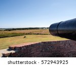 Small photo of Cannon barrel pointing at attacking howitzer at American Civil War Fort Pulaski